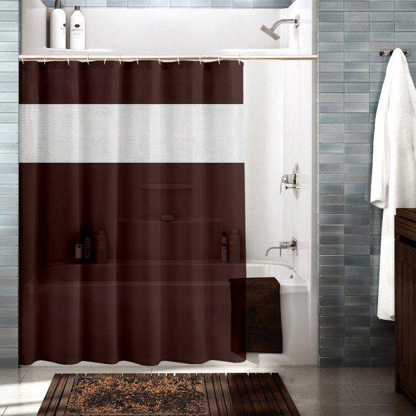 Brown Color Buy Premium Ring Rod Bathroom Shower Curtains Online