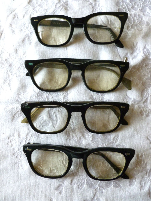 4 Vintage 1960 Black Mens Eye Glasses, repurpose, reuse, recycle ...