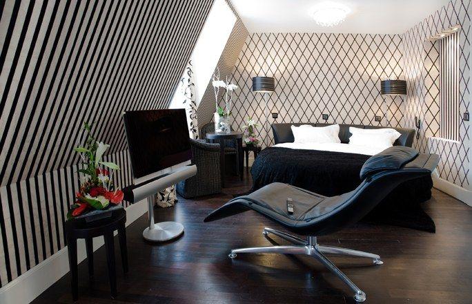 H tel ares eiffel mobilier l gant style noir et blanc chambre baroque et contemporaine - Chambre a coucher noir et blanc ...