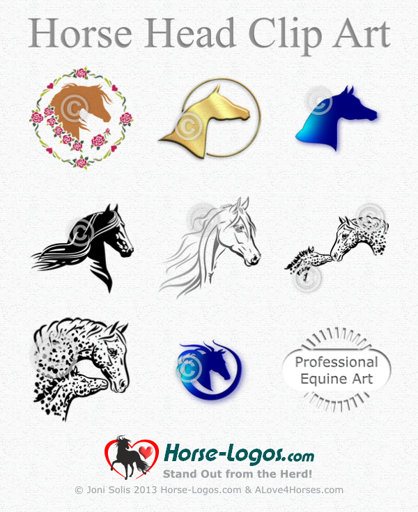 Horse Head Clip Art by Joni Solis. For sale at Horse-Logos.com ...