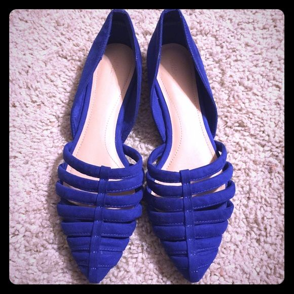 Zara Flats Got these off poshmark, and I absolutely love them. Unfortunately my feet are just too wide that they don't look good with the cage design. My loss is your gain. Worn by previous owner 1x. Beautiful cobalt blue. Great condition! Zara Shoes Flats & Loafers