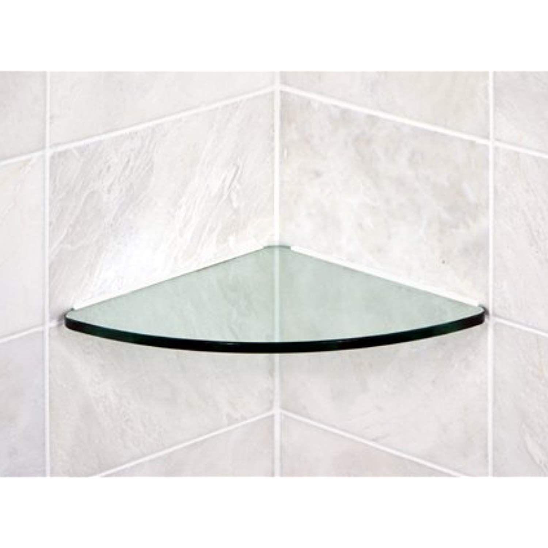 Bluegate Inc Bathroom Tempered Glass Curved Corner Shelf 10 X10 3