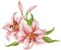 Lily free machine embroidery design 2. Machine embroidery design. www.embroideres.com