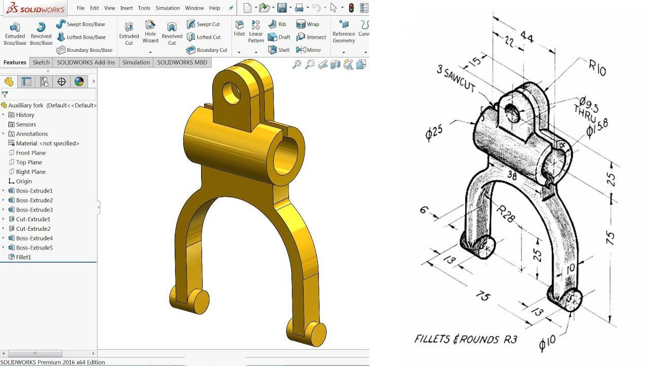 Solidworks Tutorial For Beginners Exercise 64 Youtube 3d