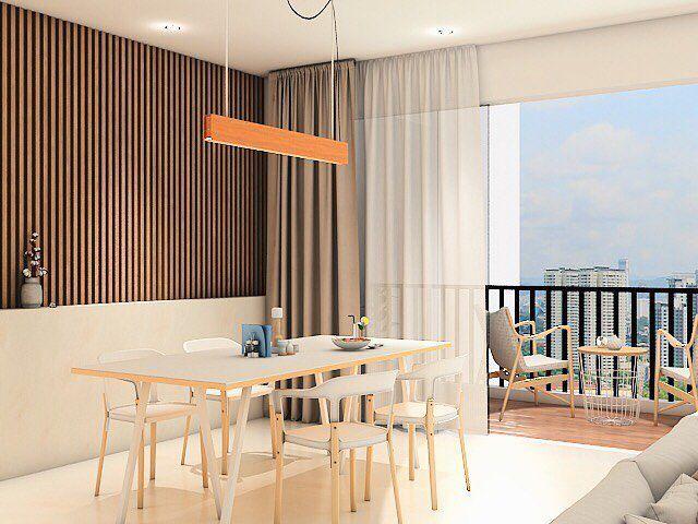 Walls Too Dark Modern Minimalist Dining Room Marigold At Nava Park Apartment Tangerang Inka Design Apartment Interior Design Home Decor