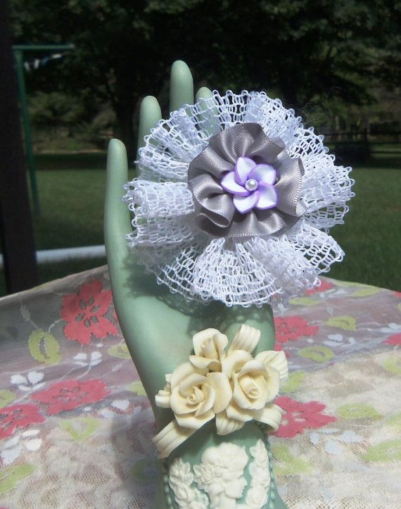 RingScarf Clip Made of Polymer Clay Lace &  Ribbon by SassyDefined, $7.50