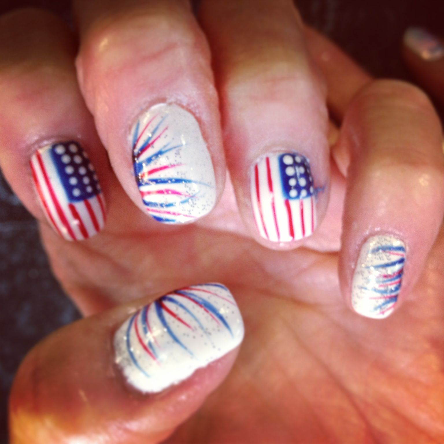 Nails Shellac Gelish Gel Nails Nail Art Red White Blue America