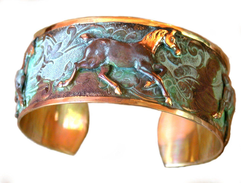 Explore Running Horses, Brass Cuff And More! Verdigris Patina Contemporary  ...