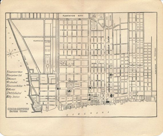 1914 Georgetown Guyana Antique Map Antique maps City maps and Modern