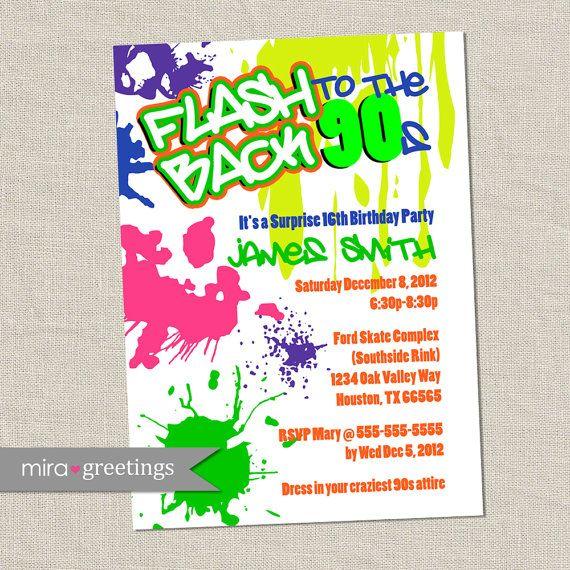 Graffiti Birthday Invitations   Neon Party Invitation   Retro 80s 90s  Invites (Printable Digital File OR Printed Cards)