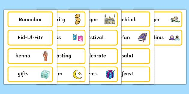 Eid Topic Word Cards With Images Word Cards Words Ramadan
