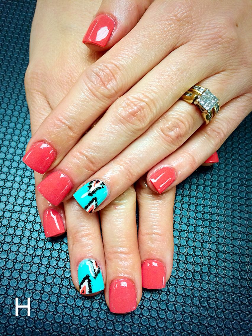 Nails By Haley Harris Coral Mint Green Acrylic Aztec Design