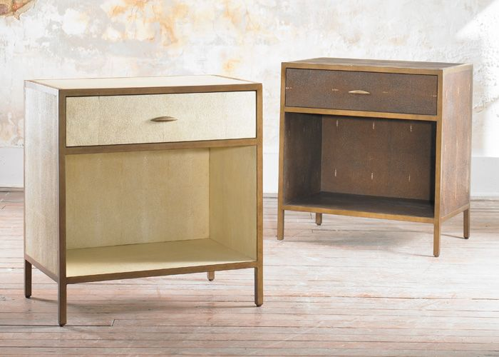 JULIAN CHICHESTER   Gilbert Bedside   This Faux Shagreen Bedside Has A  Bronzed And Gilded Frame