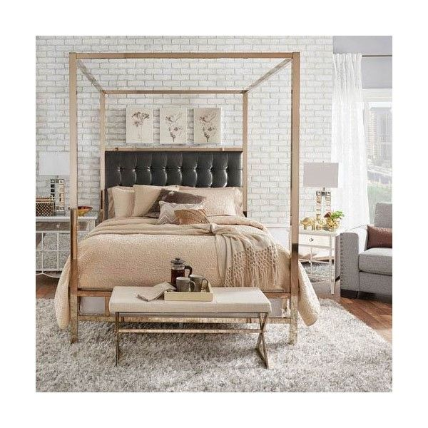 HomeHills Adora Black Glam Champagne Brass Canopy Bed (1 455 AUD) ❤ liked on