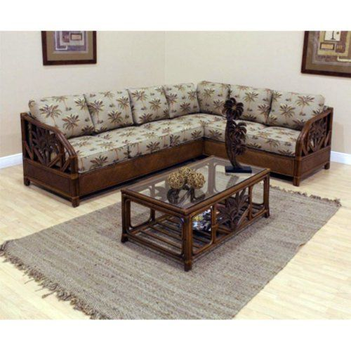 Cancun Palm 4 Piece Bedroom Set Wicker Rattan Queen King: 2 Piece Upholstered Rattan & Wicker Sectional With