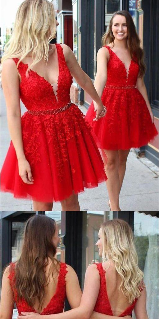 V-Ausschnitt roter Spitze kurzes Heimkehrkleid mit Perlen Taille Maßgeschneiderte niedlichen Cocktailkleid Mode Tüll Applikationen kurzes Abendkleid süße 16. Kleider Fashion School Dance Kleider HD088   – short prom dress
