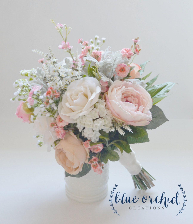 Blush and ivory silk wedding bouquet with wildflowers garden