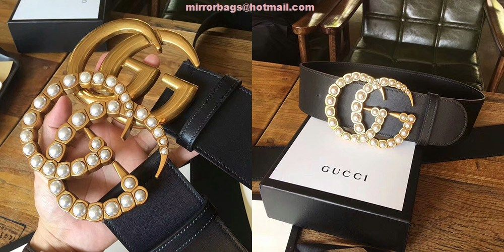 95c0d3836 Gucci pearl Double G Wide leather belt 453261 | belts and more in ...