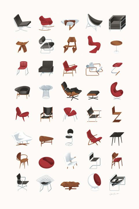 Infographic On Various Iconic Chair Designs Moderno Da Metade Do
