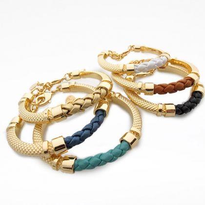 Gold Hand-Braided Genuine Leather 'Trenza' Bracelet