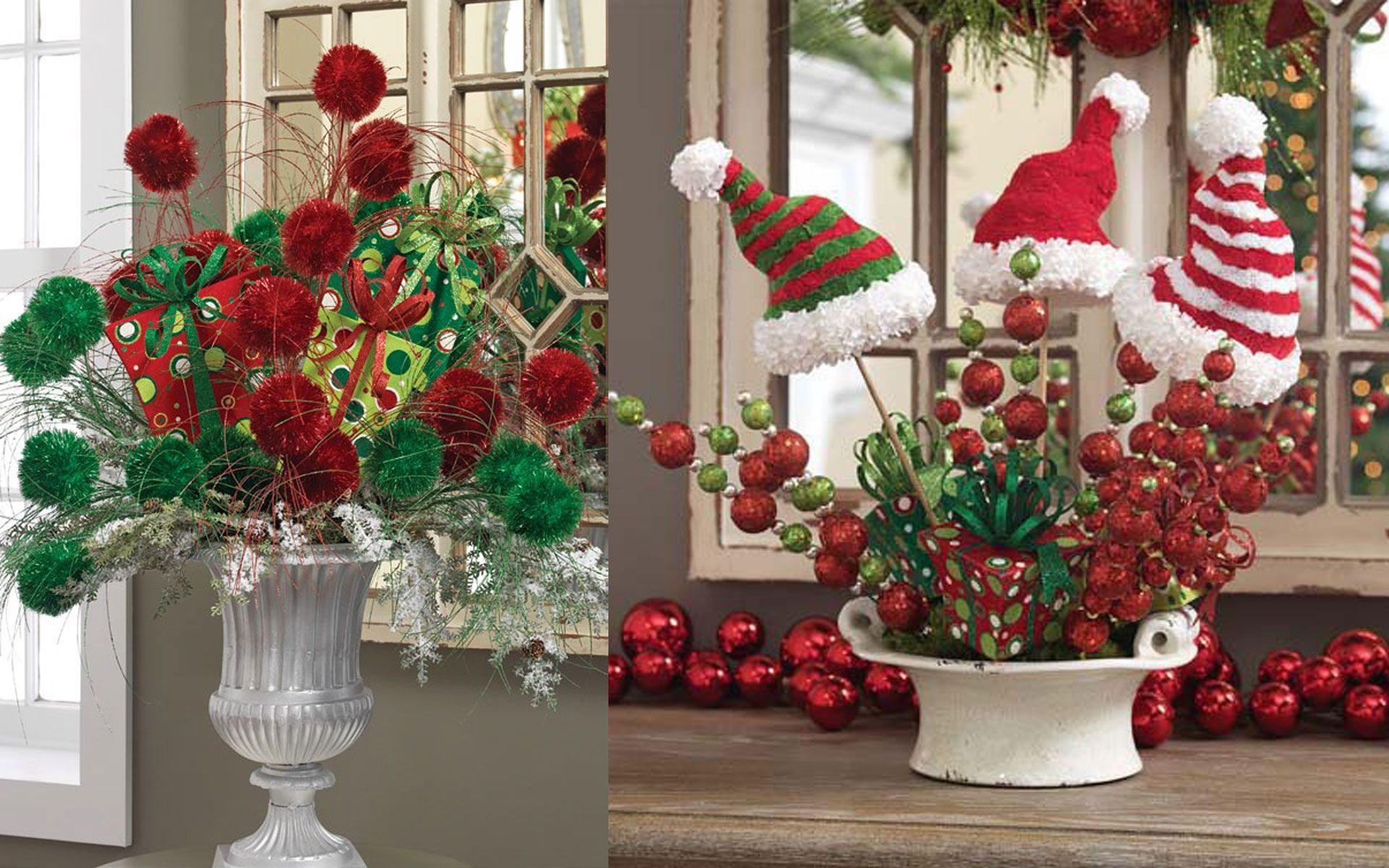 Window well decoration ideas  adorable decorating ideas for christmas with red green ball and