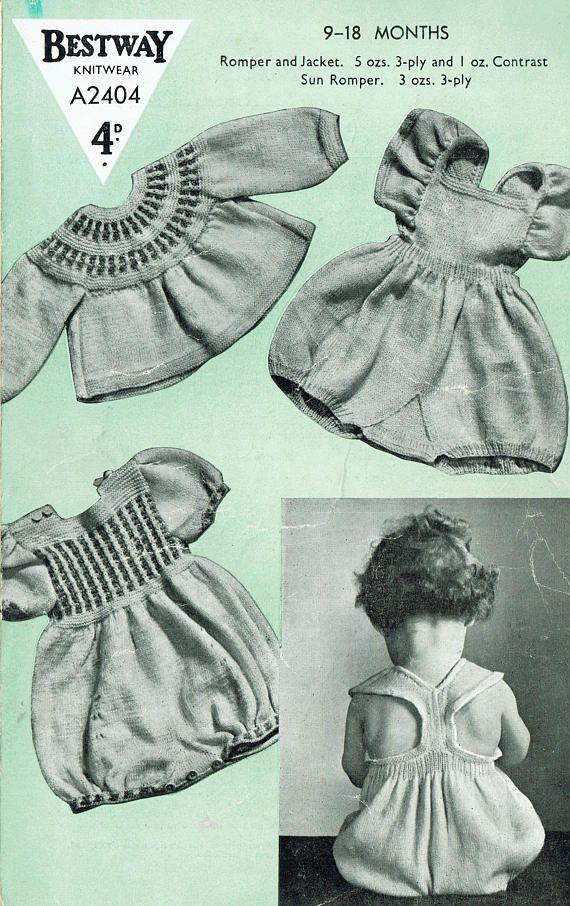 375f762f616b PDF Vintage Baby Girl Play Suits Knitting Pattern Bestway
