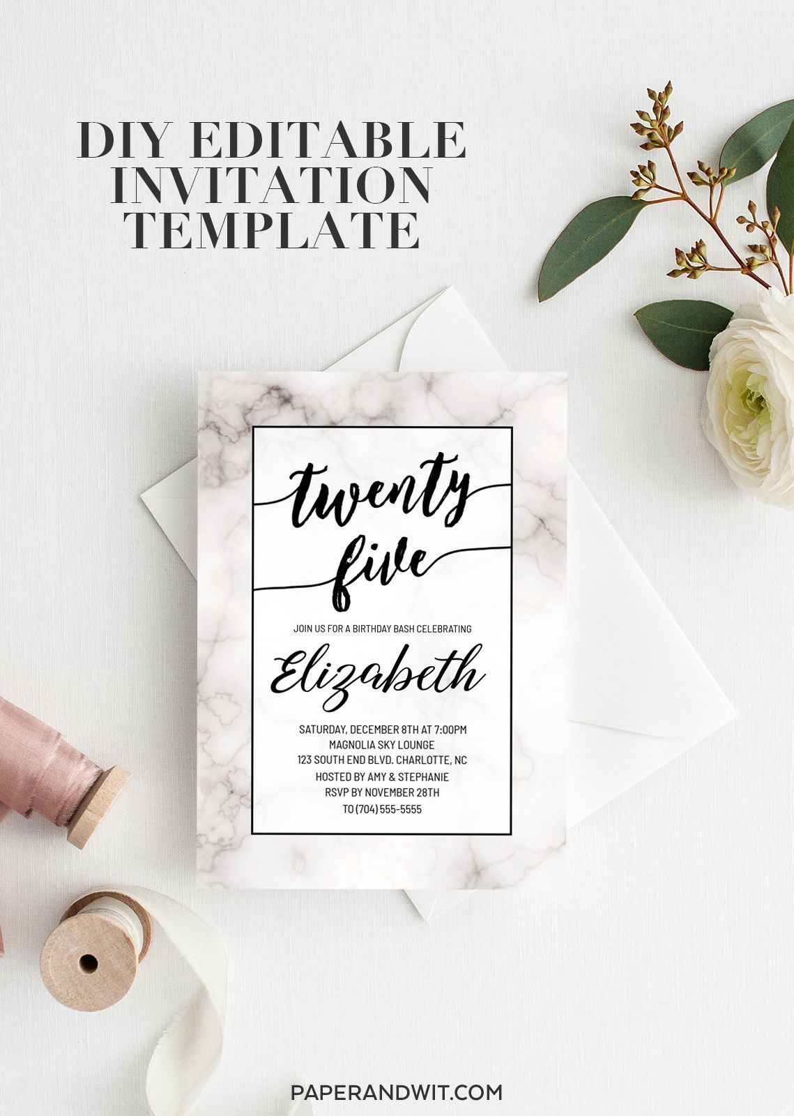 25th Birthday Invitations For Women Invite Marble Invitation Black And White 25 Etsy