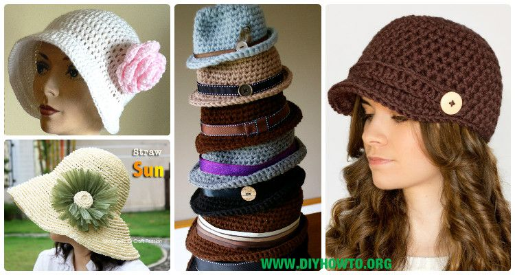 A Collection of crochet adult brimmed Sun hat, ladies Summer hat ...