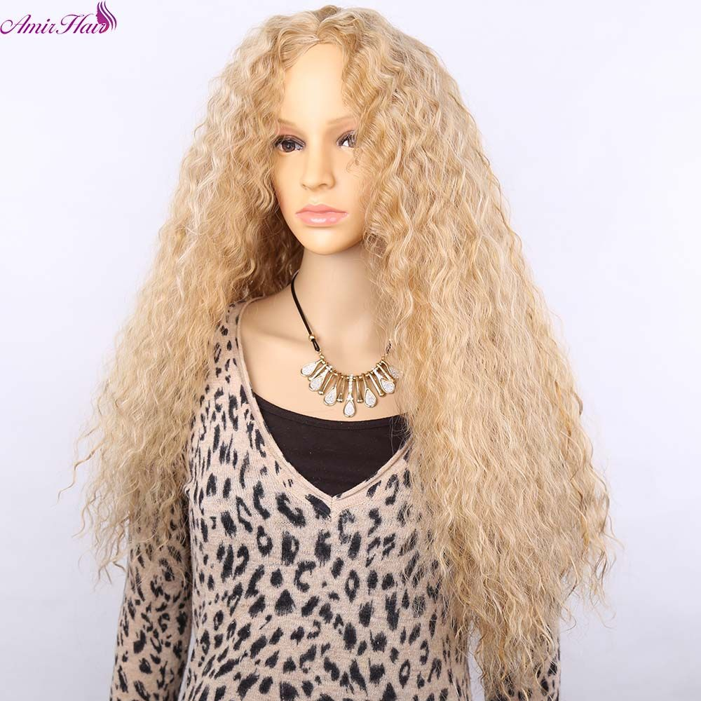 Amir hair natural long mix blonde and white synthetic wig ombre heat