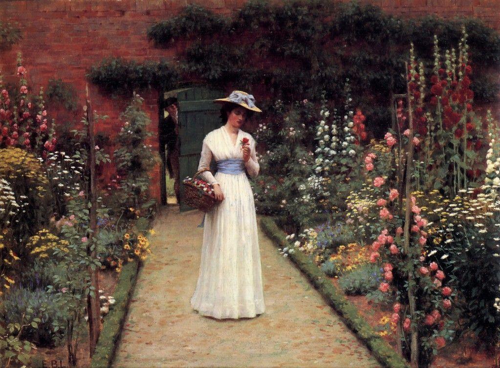Leighton Lady In A Garden Pintura Do Jardim Humor De Mulher Pintores