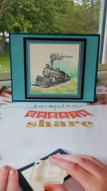 Su card using Traveler stamp set and cloudy day embossing folder