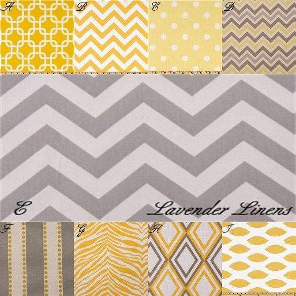 custom two piece crib bedding in premier prints yellow and gray fabric via etsy. Black Bedroom Furniture Sets. Home Design Ideas