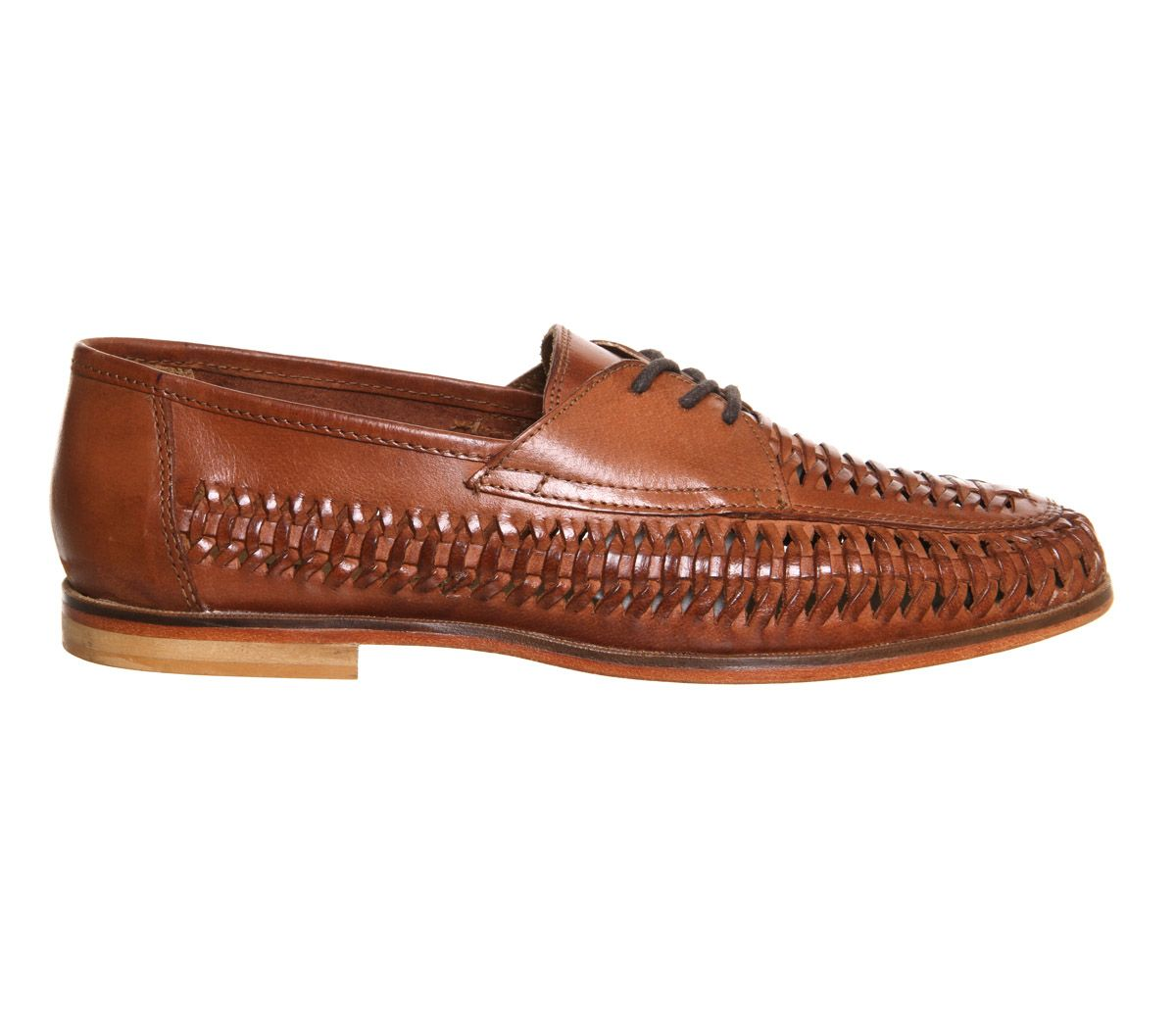Buy Tan Hi Shine Leather Office Brixton Weave Lace Loafers from OFFICE.co.uk