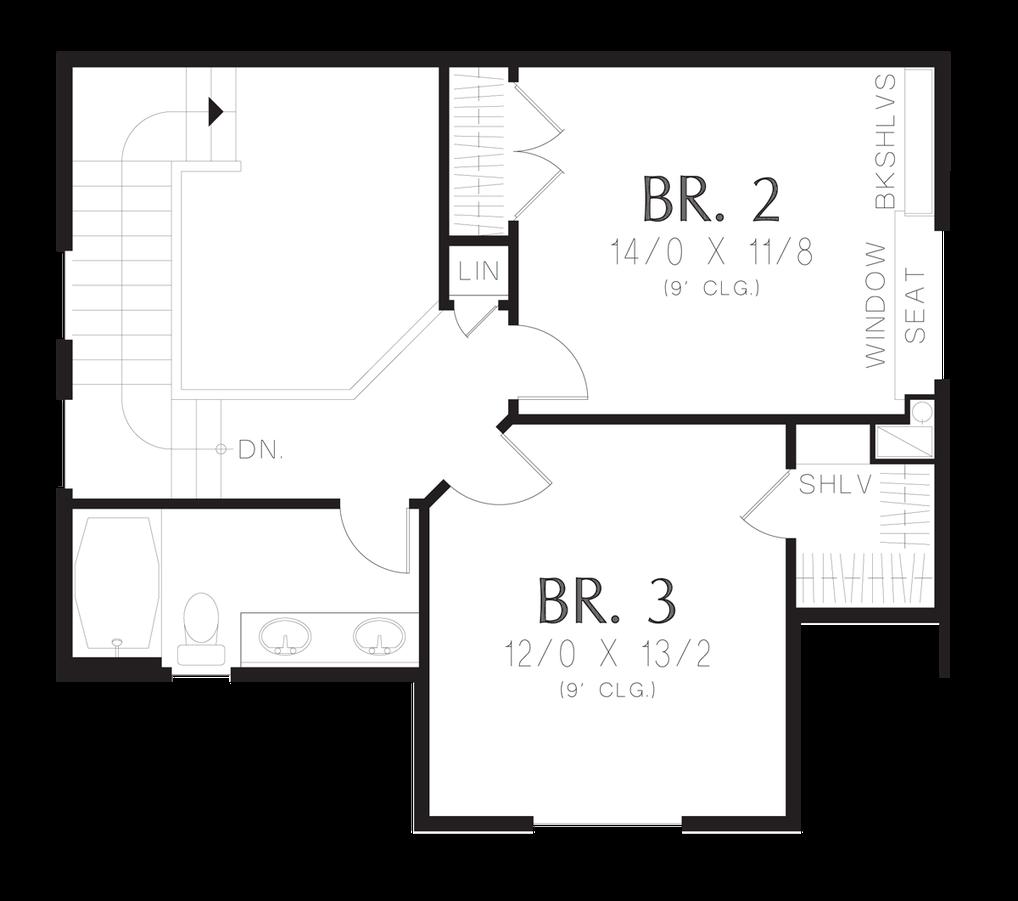 Upper Floor Plan Image For Mascord Barberton-Traditional