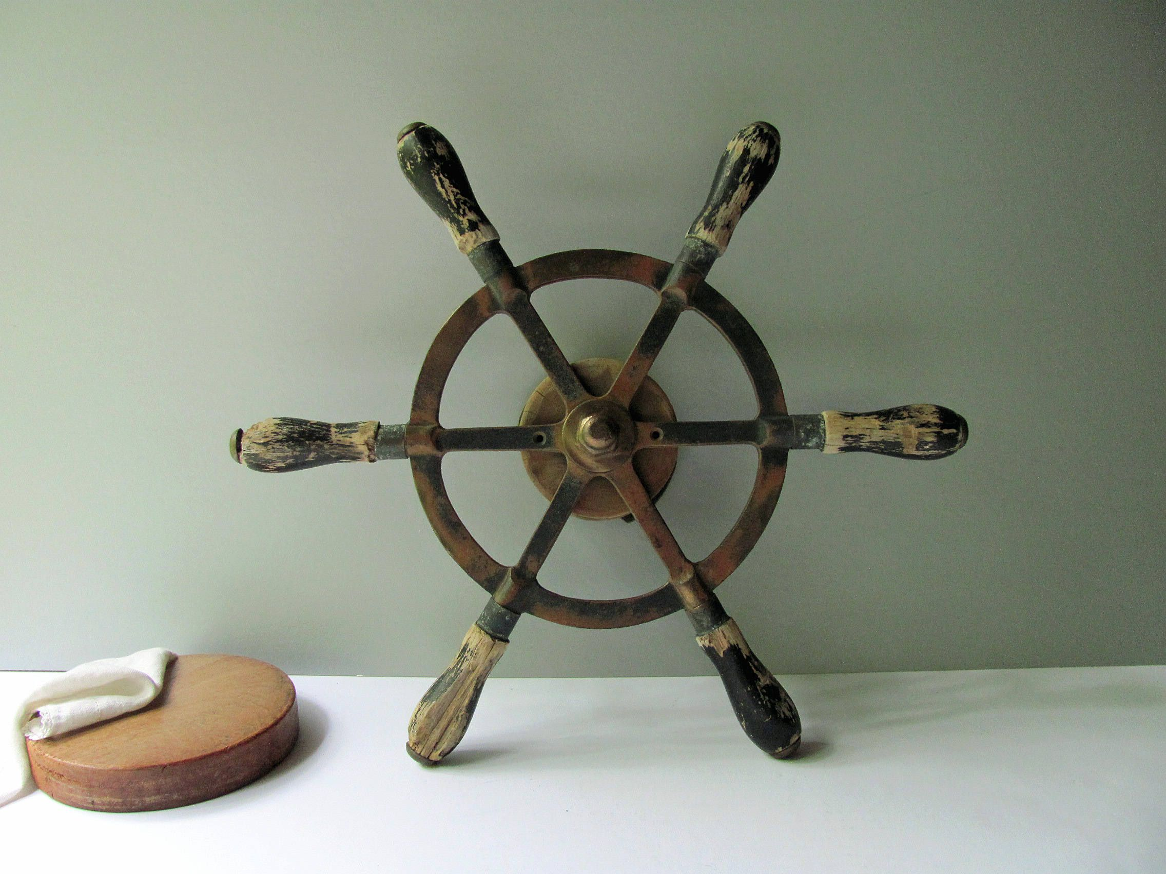 Vintage Boat Wheel Ship Yacht Steering Wheel Helm Bronze Spokes Wood Handles Drum Nautical Decor Rustic Wed Vintage Boats Lake Cottage Decor Vintage Nautical