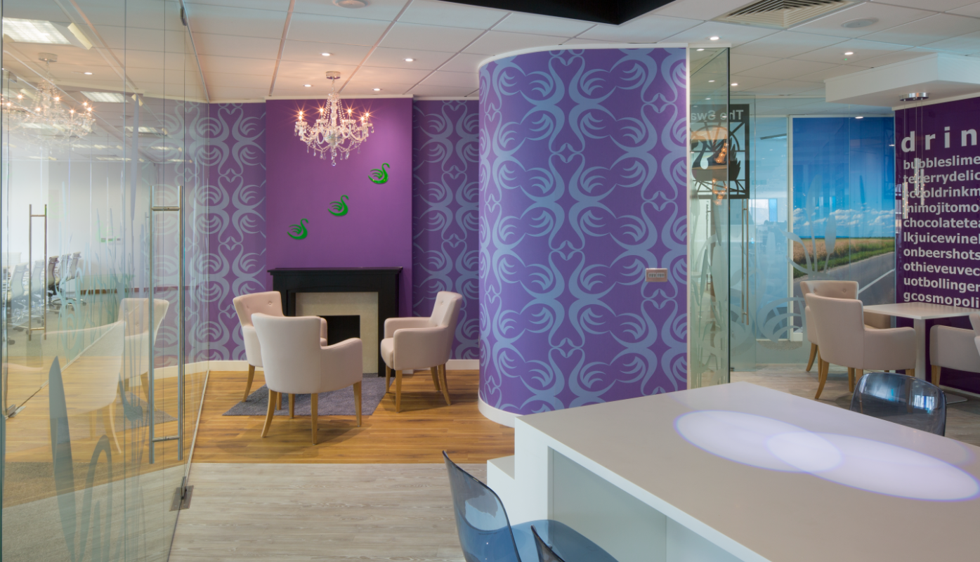 Beautiful Digital Wall Covering Made Using The Clients Logo In Their Soft Office Breakout Space