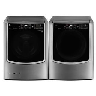 Washer and Dryer - LG 6.0 Cu. Ft. Front-Load Steam Washer and 9.0 Cu. Ft. Electric Dryer – Graphite Steel