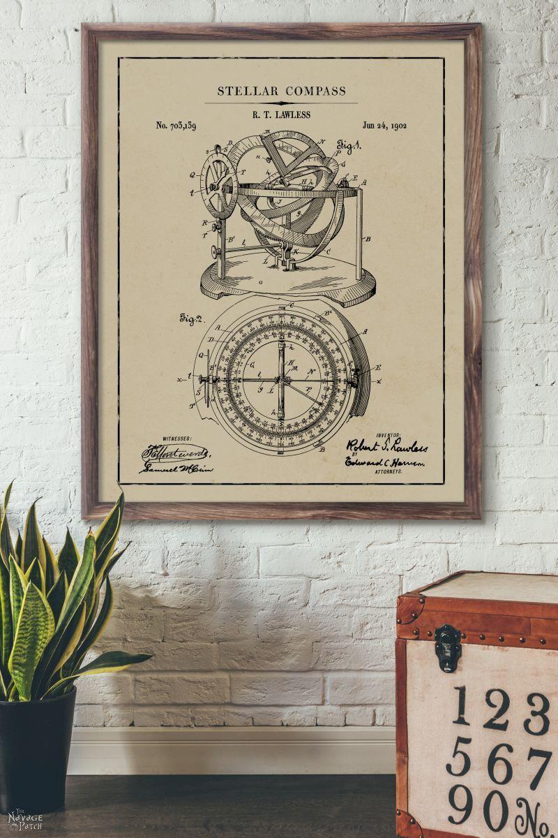 12 Free Nautical Wall Art Printables Vintage Patent Art Graphic