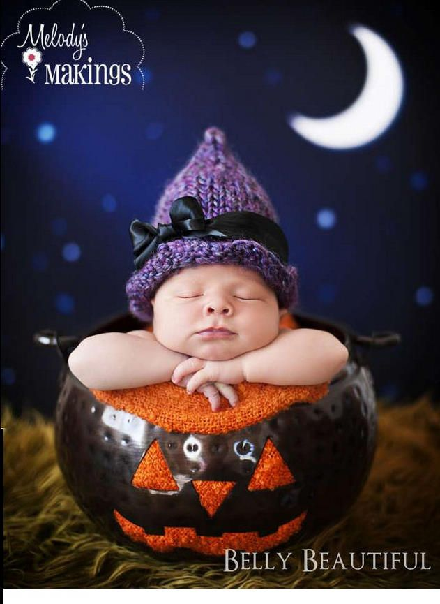DIY baby witch hat for a cute newborn Halloween costume or photo prop. f1b76d36587