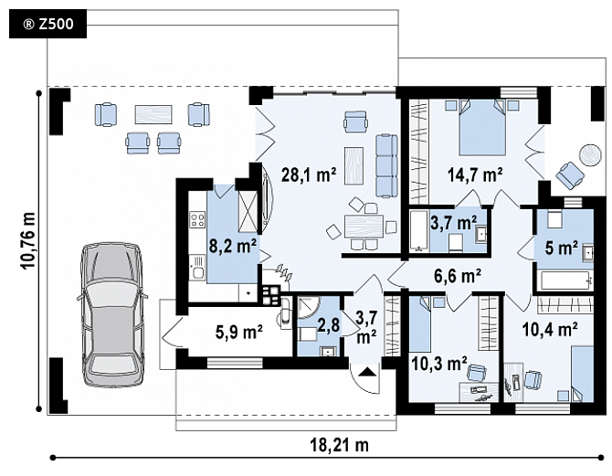 Plano de casa elegante y moderna con 3 dormitorios y 3 for Planos de banos