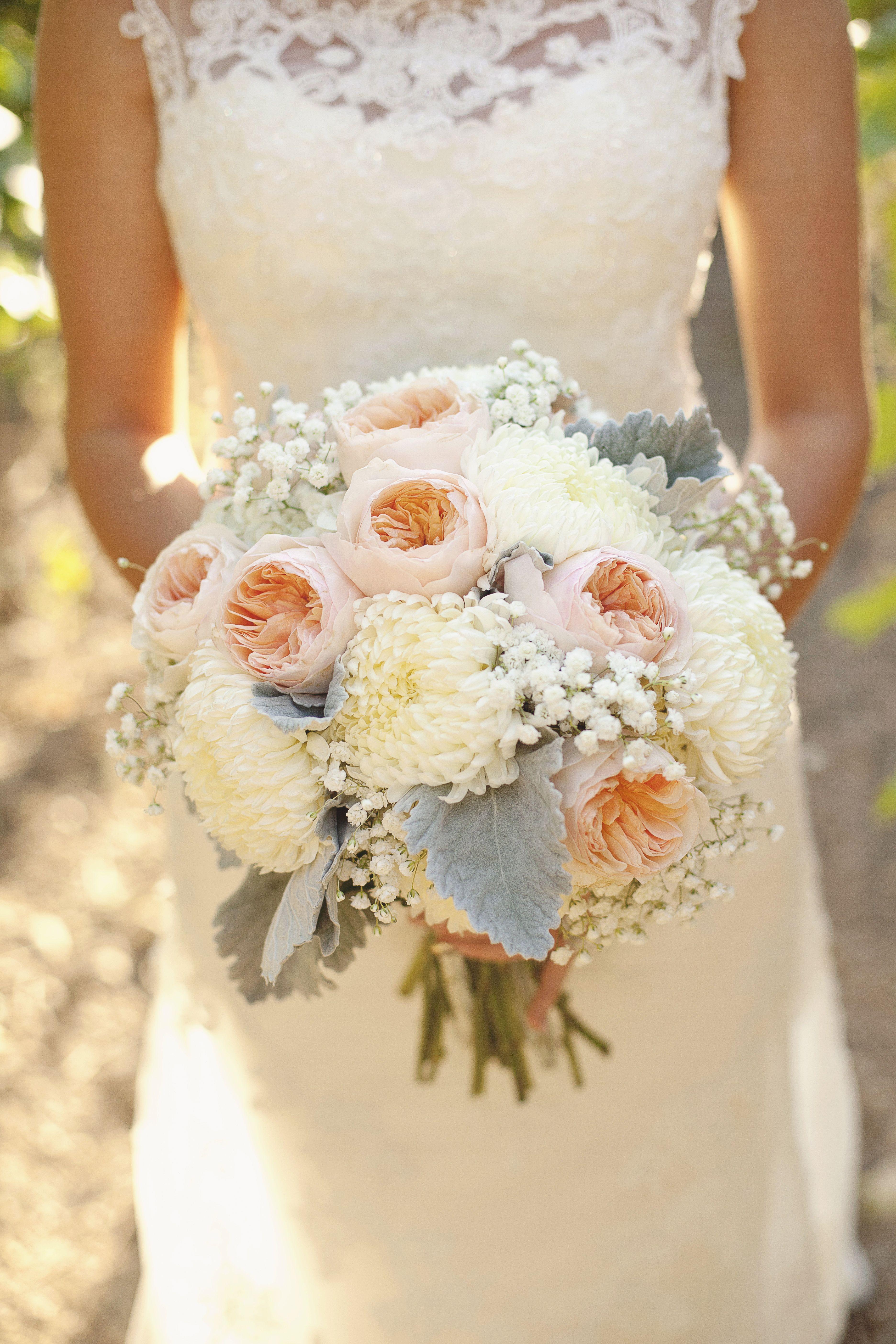 Blush Grey Ivory Wedding Bouquet Utah Flowers Calie Rose