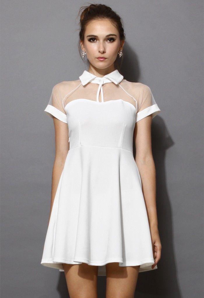 92205c36fc White Short Sleeve Mesh Peak Collar Skater Dress