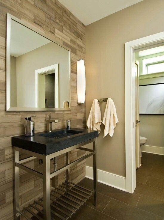 badkamer taupe  modern bathroom bathroom accent wall