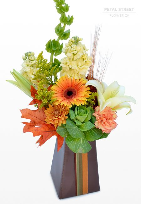 Autumn Flower Arrangement With Gerbera Daisy Kale Lillies Mums Stock And Fall Leaf Accents