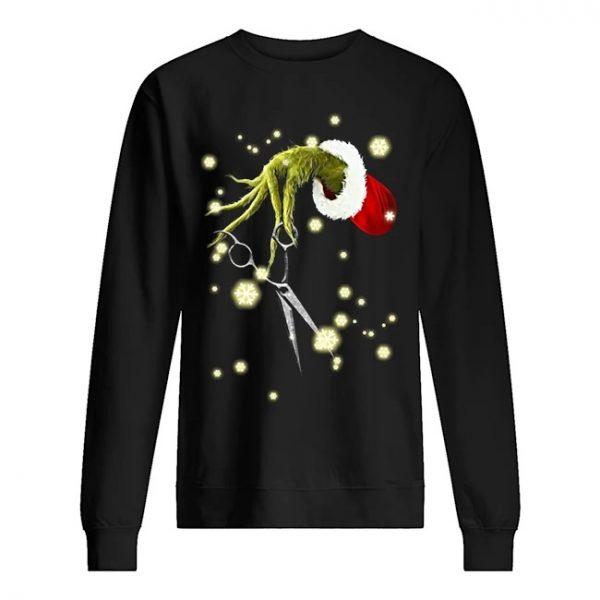 Grinch Hand Holding Scissor Christmas Shirt Hoodie Tank Top And Sweater Christmas Shirts Grinch Hands Unisex Hoodies