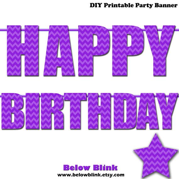 Purple Happy Birthday Letter Banner Purple Chevron Photo Prop