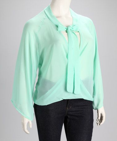 Take a look at this Aqua Bow Plus-Size Top by Clothing Showroom on #zulily today!