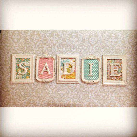 5 Vintage Style FRAMED LETTERS - Shabby Chic Monogram - nursery Name ...