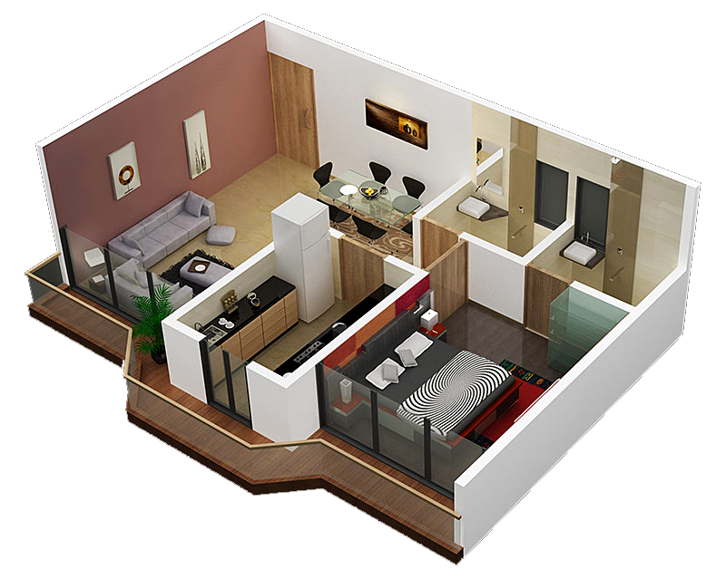 Plans for small apartment interior design 3 sweet home for Very small apartment interior design