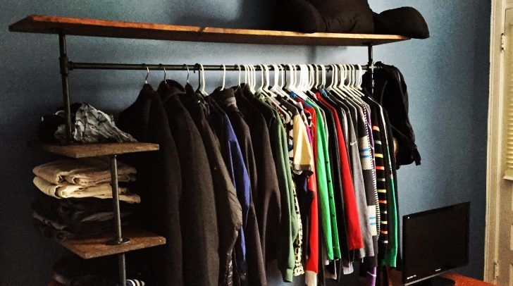 Cool DIY Pipe Clothes Rack As Closet Solution For Tiny Space: Diy Wooden  And Metal
